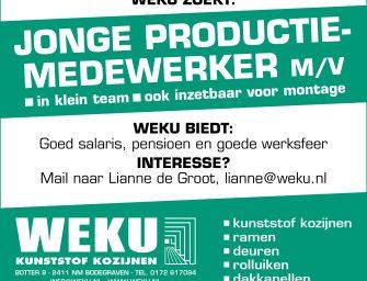 WEKU zoekt jonge productie-medewerker m/v