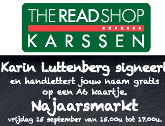 Karin Luttenberg komt 'Handletteren' bij Readshop Karssen op de Najaarsmarkt