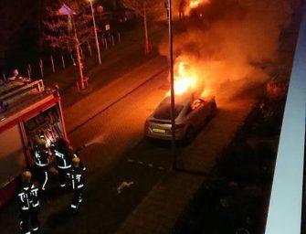Auto's gaan in vlammen op in Bodegraven