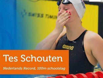 Tes Schouten zwemt Nederlands Record