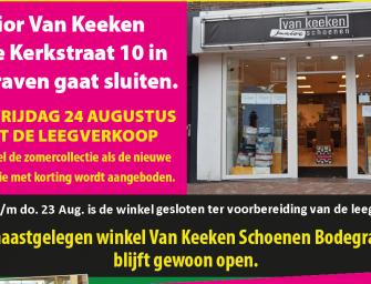Junior van Keeken gaat sluiten, Van Keeken Schoenen blijft open