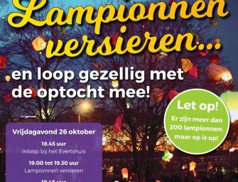 Lampionnen versieren met muzikale optocht op vrijdagavond 26 oktober